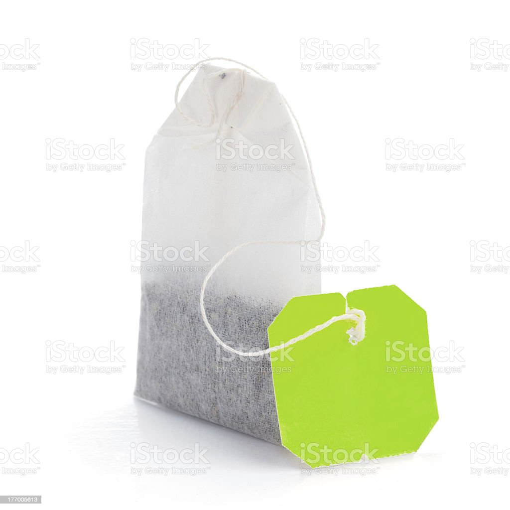 Teabag with green label stock photo