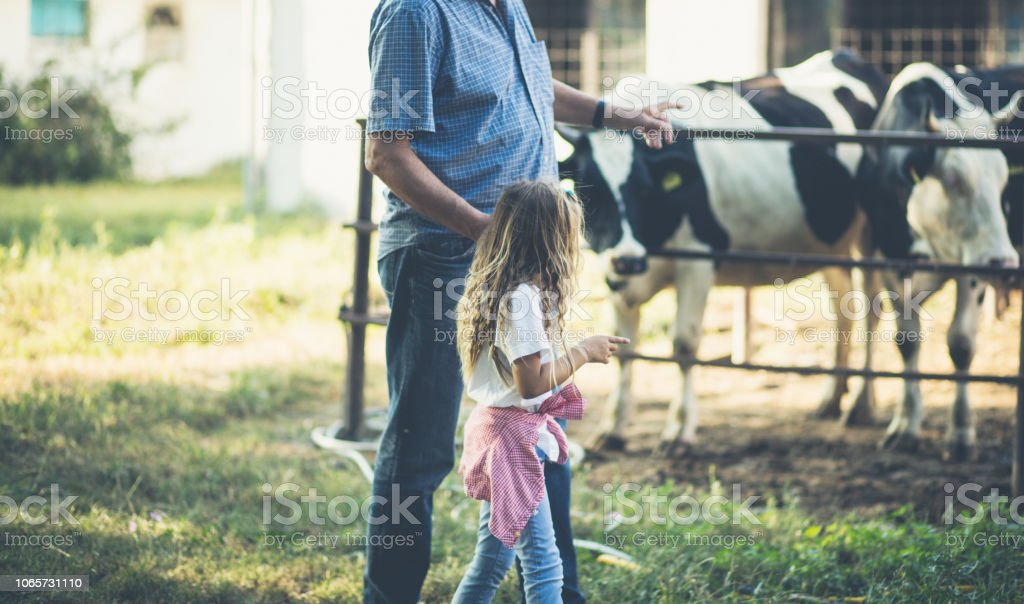 Teach your children to love animals. Grandfather and granddaughter on...