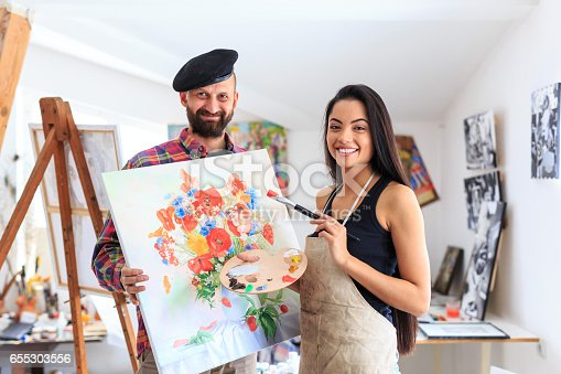 istock Teacher and apprentice in art studio 655303556