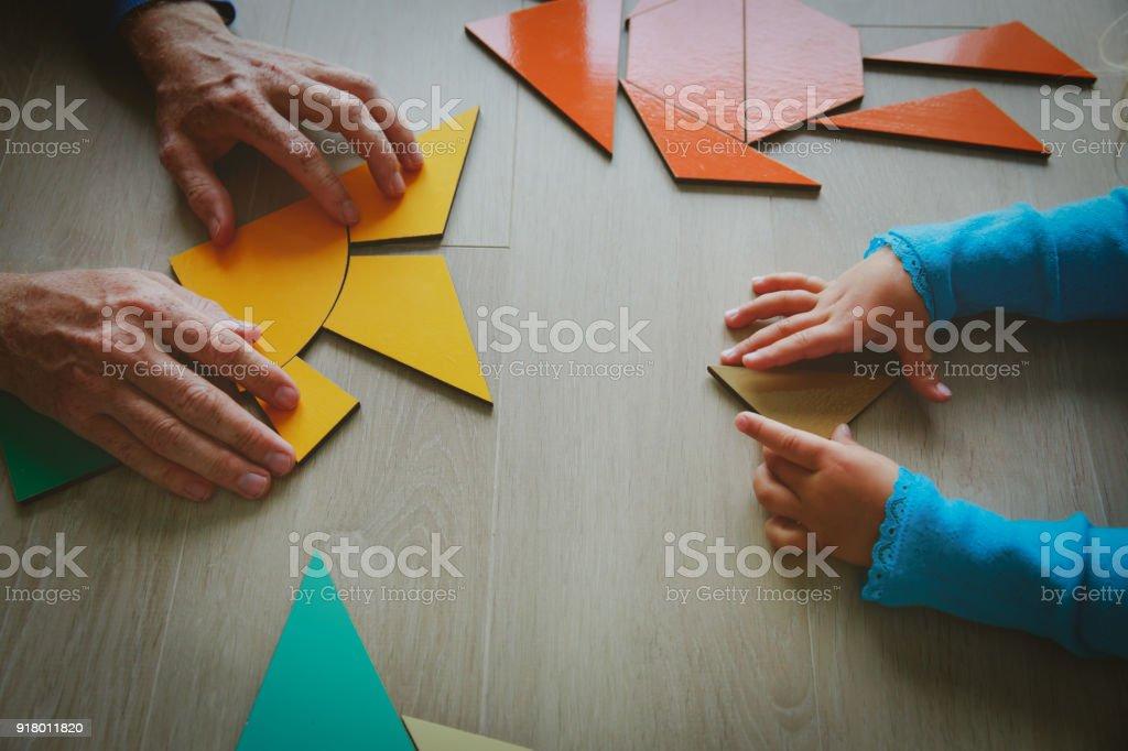 教師とお子様が、幾何学シェイプ ストックフォト