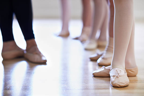 teacher and children's feet in ballet dancing class - dance class stock photos and pictures