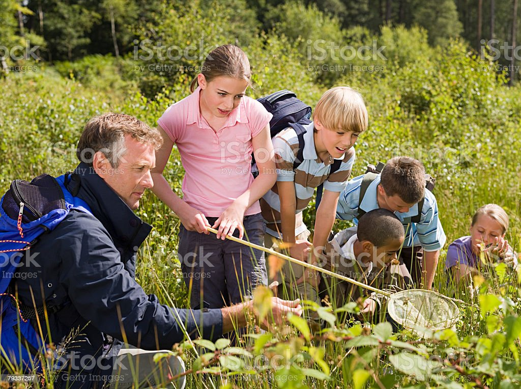 Teacher and pupils at nature reserve stock photo