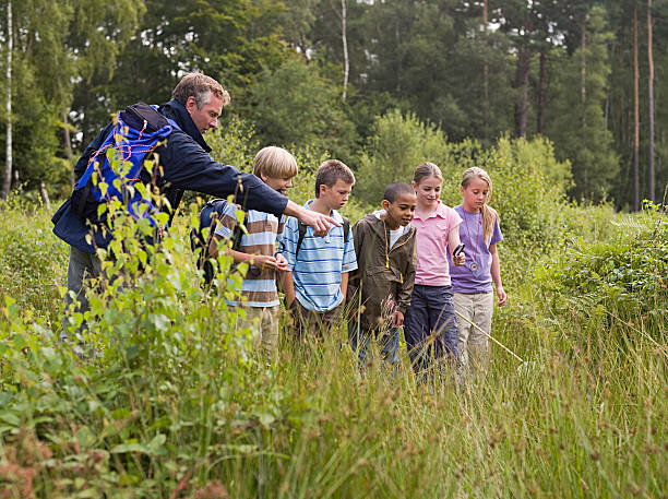teacher and pupils at nature reserve - nature reserve stock photos and pictures