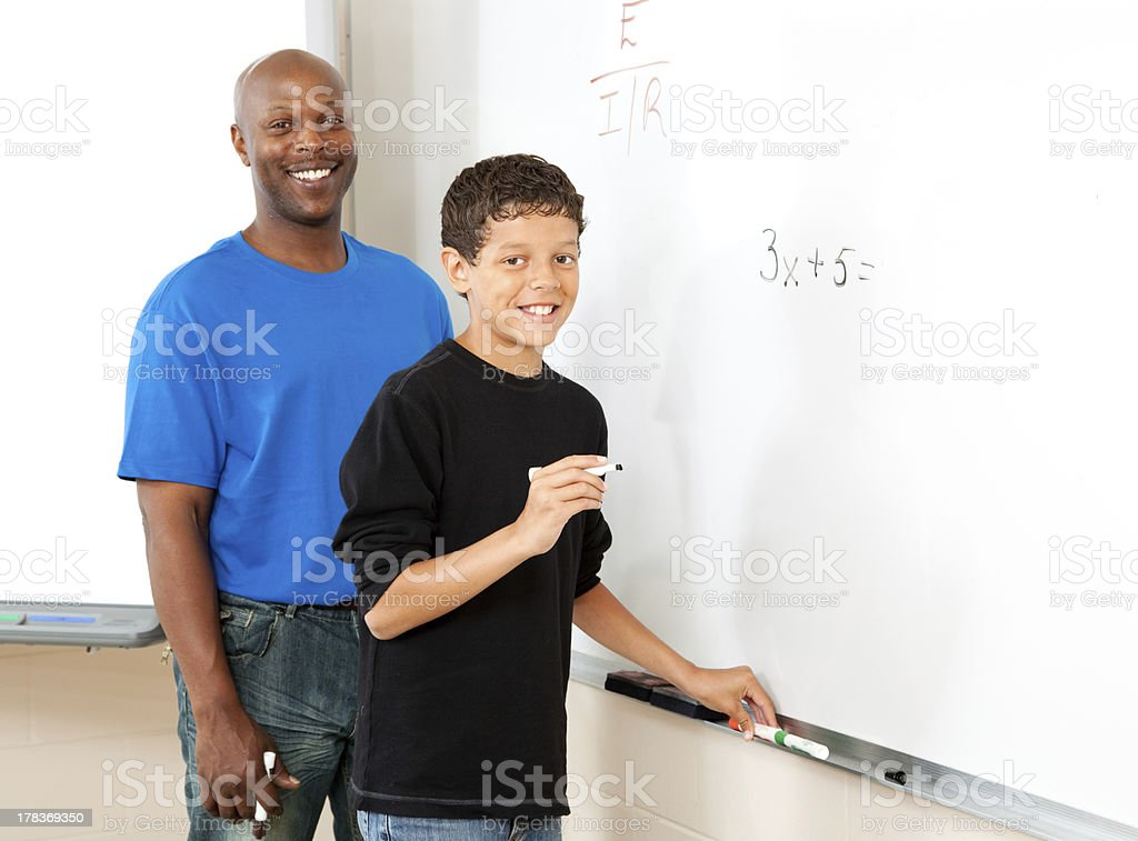 Teacher and Student - Math royalty-free stock photo