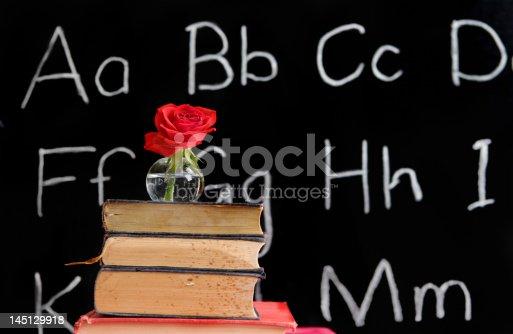 618753504 istock photo teacher appreciation - rose and a blackboard 145129918