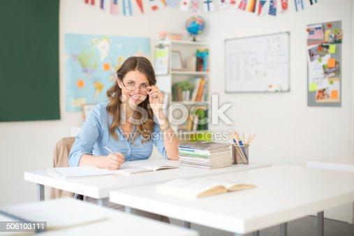 istock Teacher at classroom. 506103111