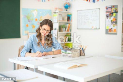 istock Teacher at classroom. 506103117