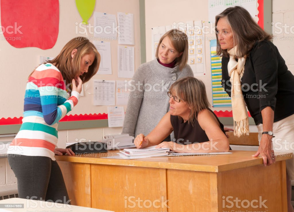 Teacher discussion stock photo