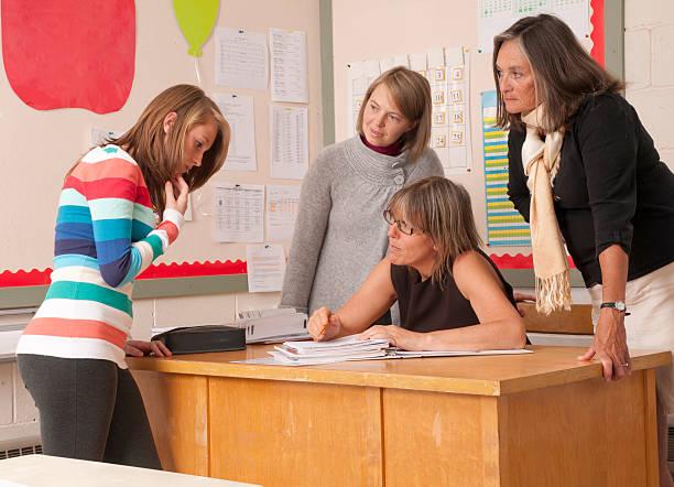 Teacher discussion stock photo