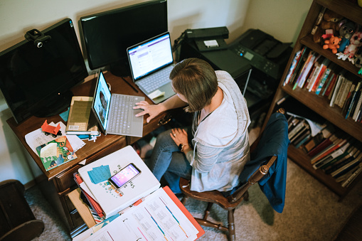 Teacher Does Online Classes From Home Office