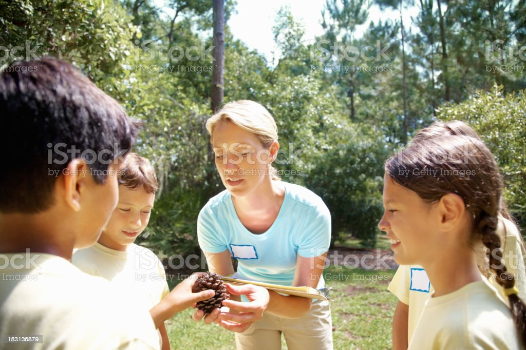 Teacher explaining about pinecone to field trip students royalty-free stock photo