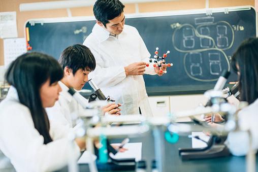 457224763 istock photo Teacher explaining molecules in Highschool Science Lab 484202532