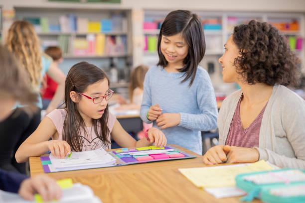 leraar helpen 4e klassers in haar klas - personal trainer stockfoto's en -beelden