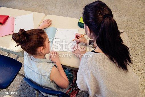 840623374 istock photo Teacher helping elementary student after class. 970298280