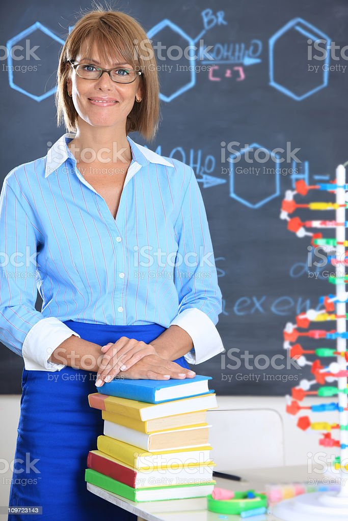 Teacher in a classrom royalty-free stock photo