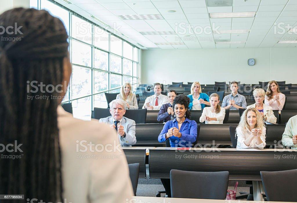Teacher in ASL Class   Deaf stock photo