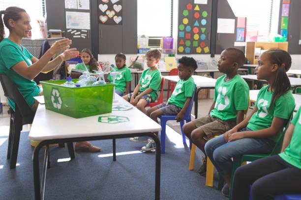 Lehrer im Umgang mit Schulkindern über grüne Energie und Recycling – Foto