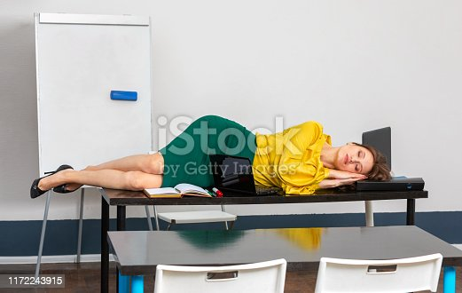 508126619istockphoto teacher is tired and go to sleep 1172243915