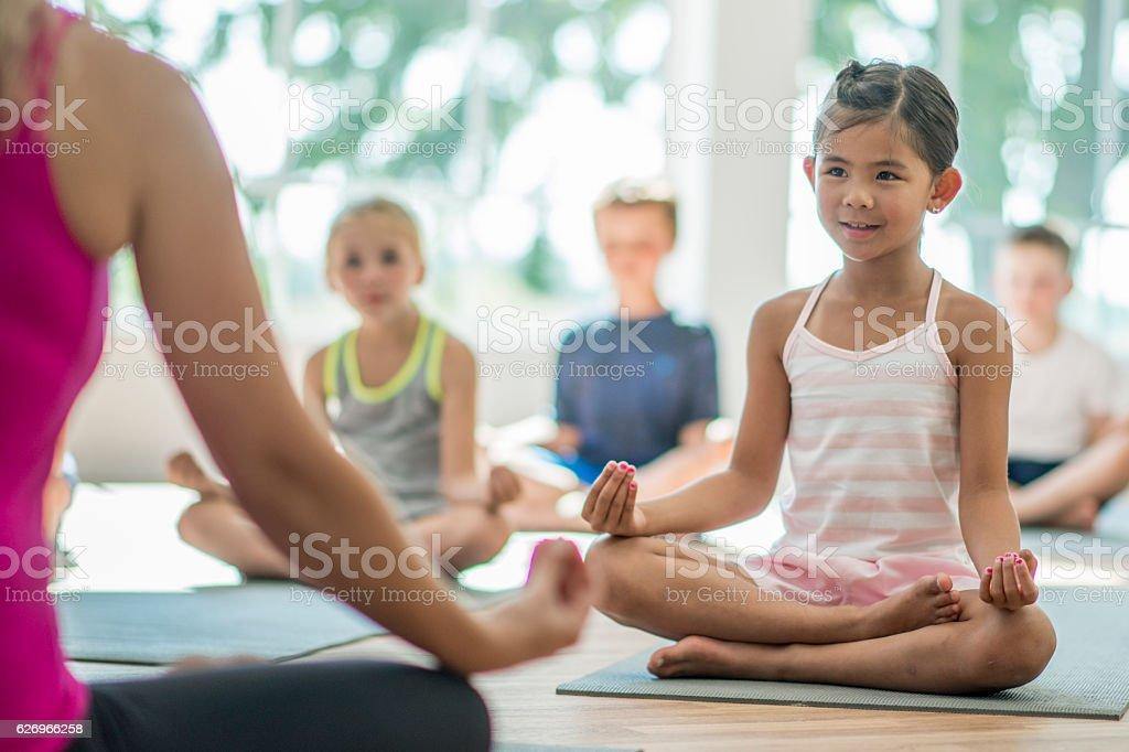 Teacher Leading a Meditation stock photo