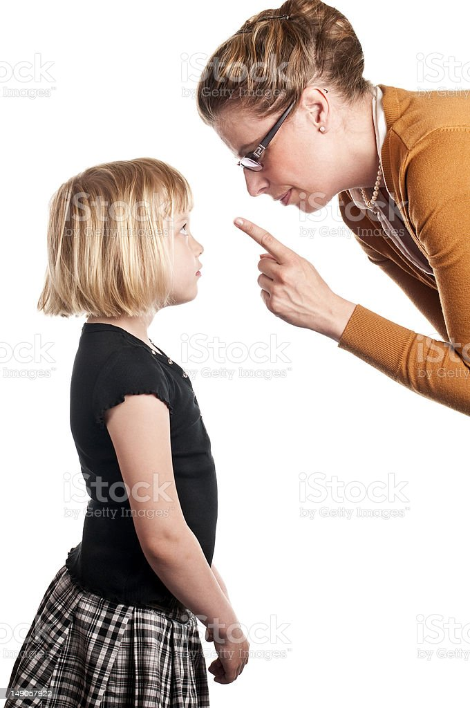 Teacher lectures child stock photo