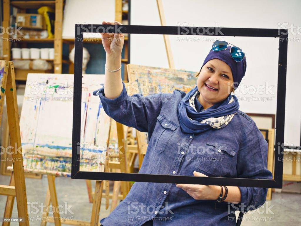 Teacher of painting in Art Studio royalty-free stock photo
