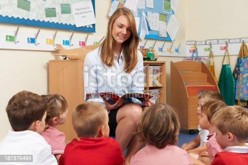 181085327 istock photo Teacher Reading Book To Elementary School Class 187376494