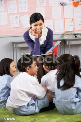 181085327 istock photo Teacher Reading To Students In Chinese School Classroom 177399767