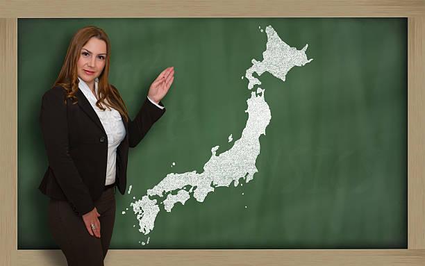 日本の教師を示すマップに黒板 - 日本 地図 ストックフォトと画像