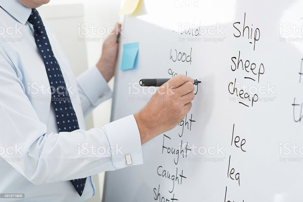 Teacher showing the ways of English vocabulary  stock photo