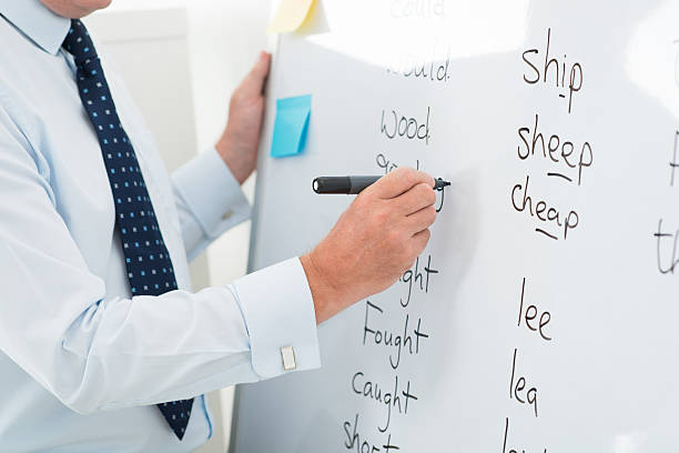teacher showing the ways of english vocabulary  - england stock photos and pictures