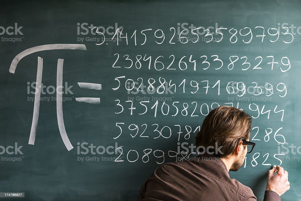 Teacher, student, scientist hand writing Pi numbers on green chalkboard stock photo