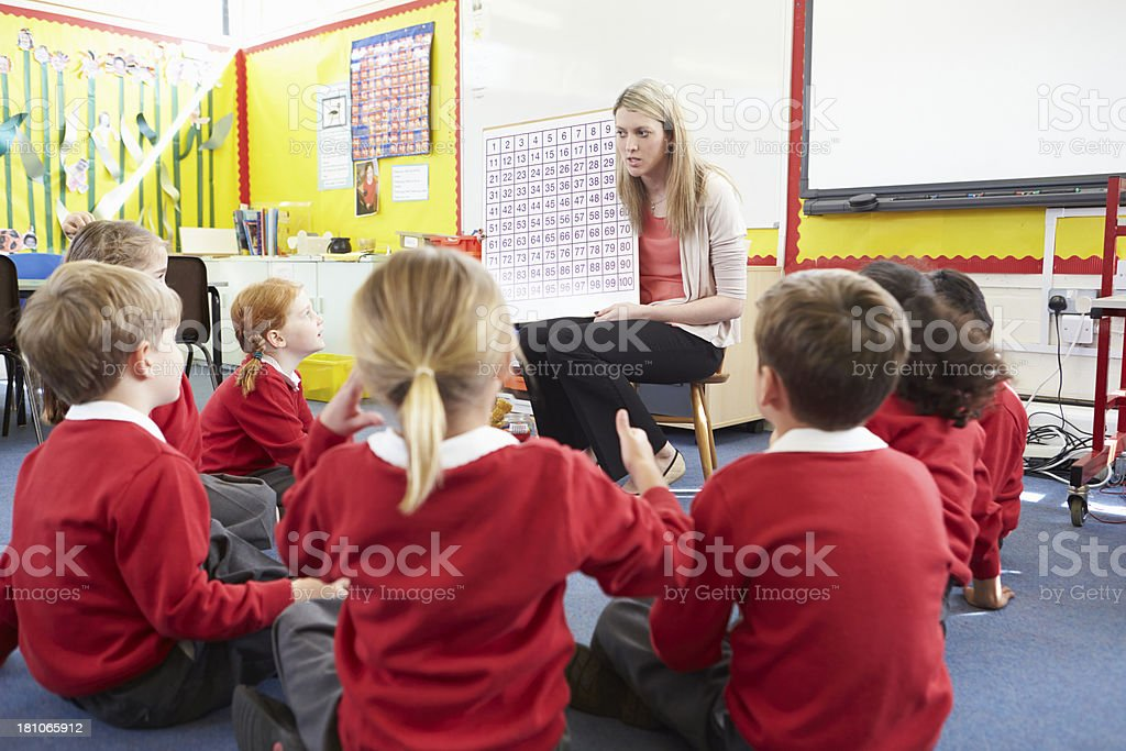 Teacher Teaching Maths To Elementary School Pupils royalty-free stock photo