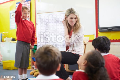 1160928955 istock photo Teacher Teaching Maths To Elementary School Pupils 181081369