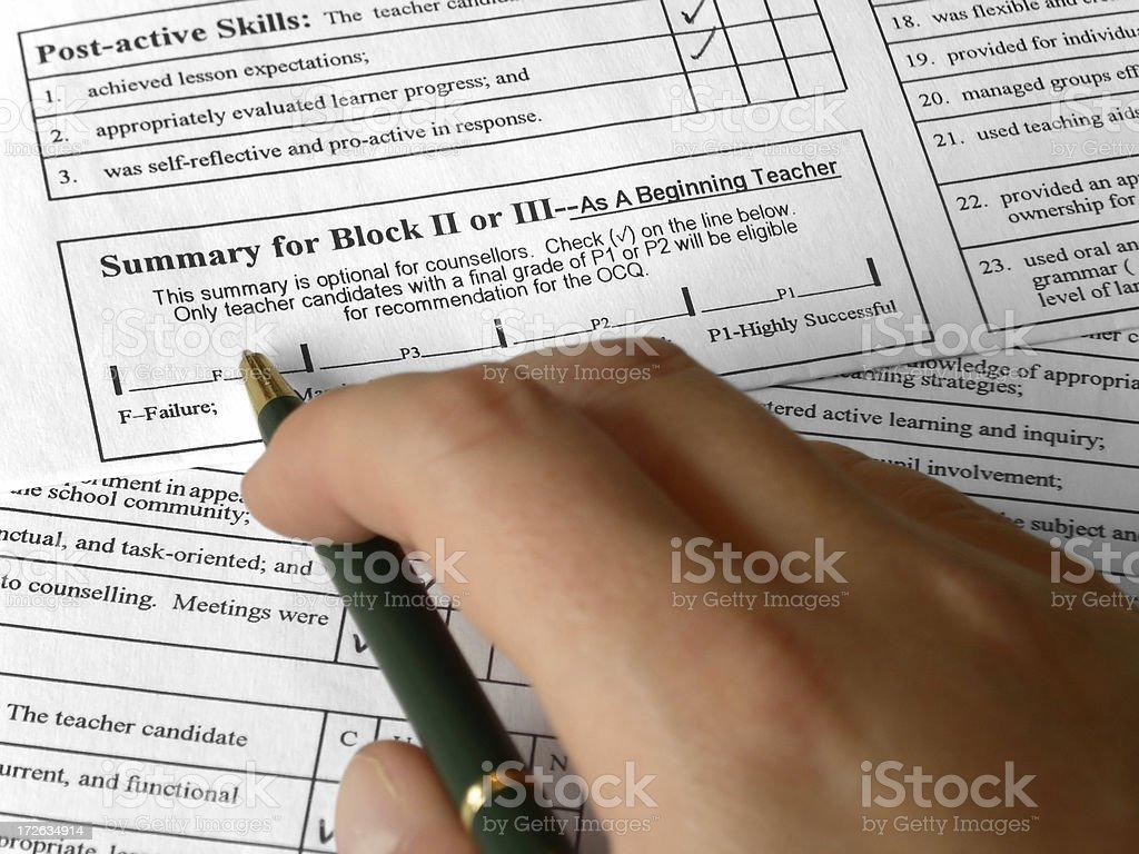 Teacher Training Assessment royalty-free stock photo