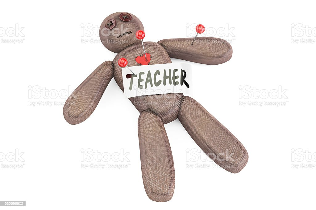 Teacher voodoo doll with needles, 3D rendering royalty-free stock photo