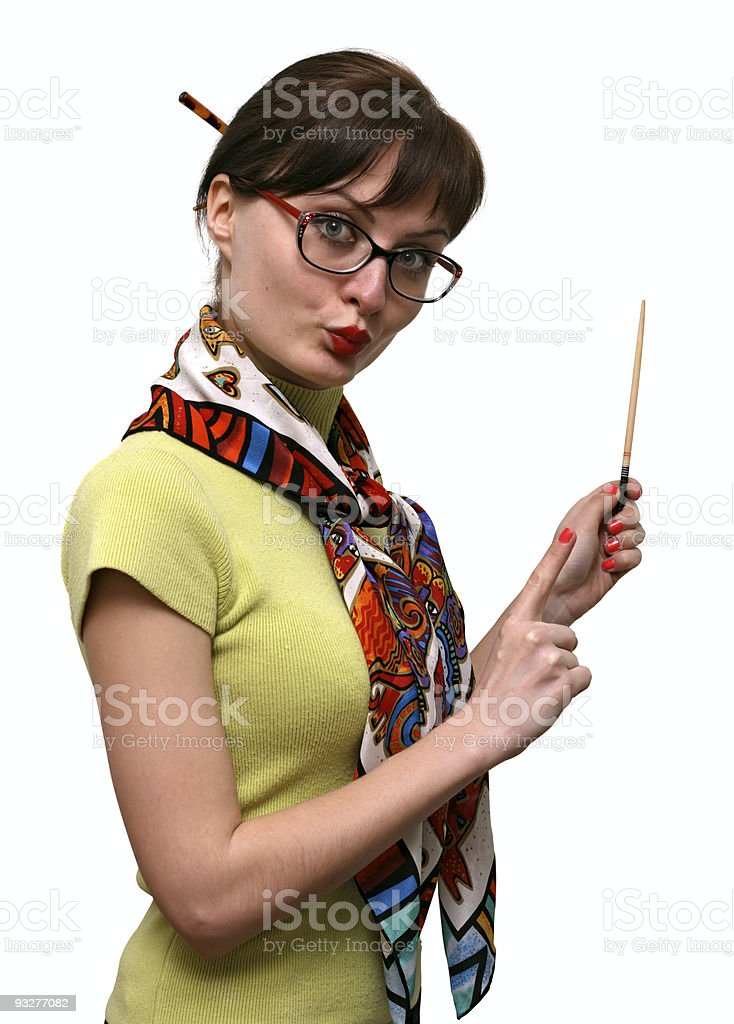 Teacher with a pointer stock photo