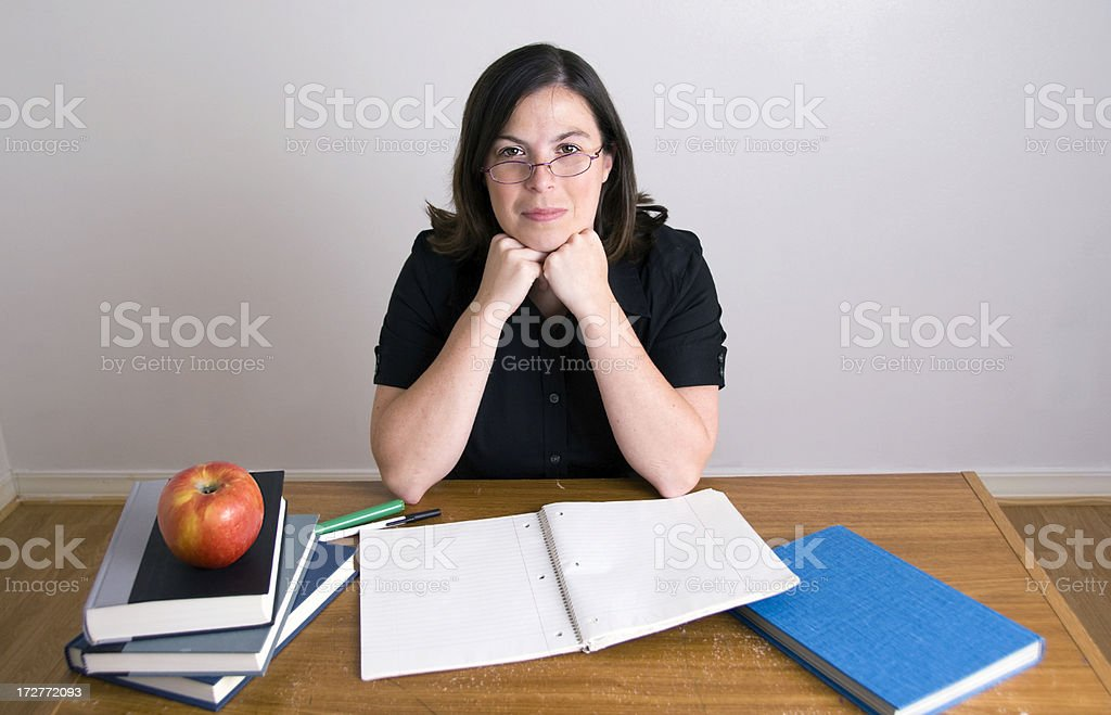 Teacher with apple royalty-free stock photo