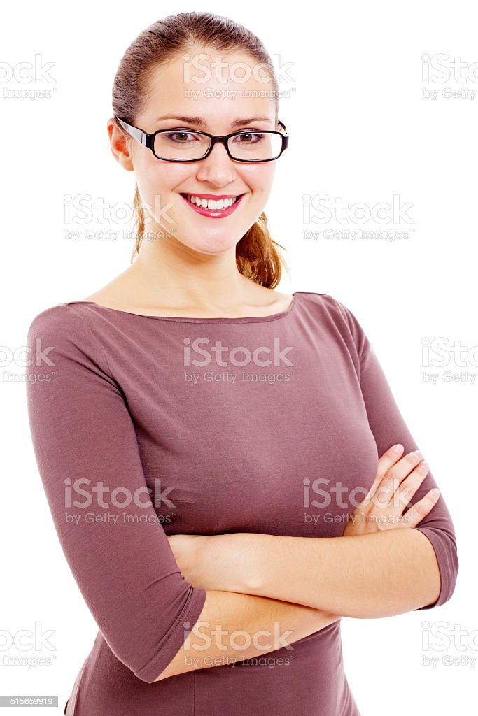 Teacher with crossed arms stock photo