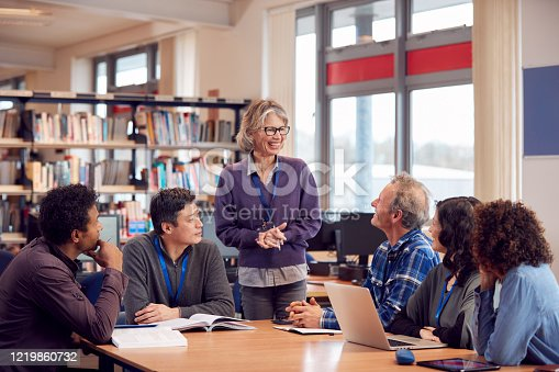 877026364 istock photo Teacher With Group Of Mature Adult Students In Class Sit Around Table And Work In College Library 1219860732