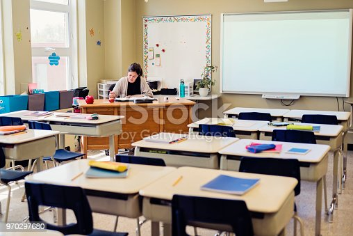 840623374 istock photo Teacher working at her desk in empty classroom. 970297680