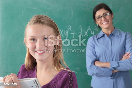 639569206 istock photo teacher working with young teenage girls at blackboard 166041525