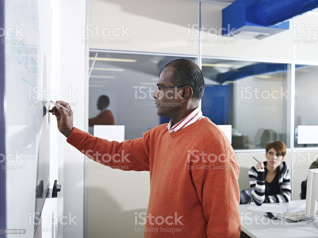 A teacher writing on the board inside the computer lab royalty-free stock photo