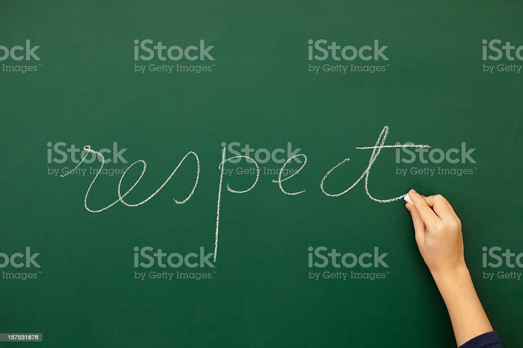 Teacher writing respect on blackboard royalty-free stock photo