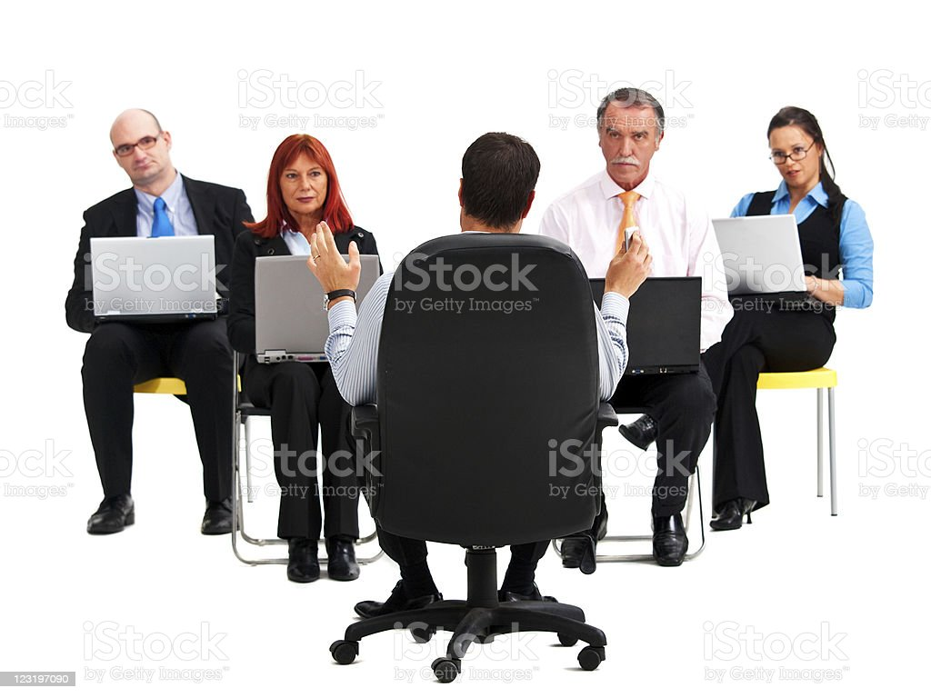 Teacher in front of his computer class stock photo