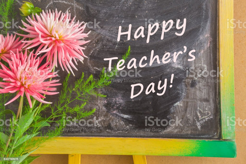 Teachers day greeting card with fresh aster flowers text happy teachers day greeting card with fresh aster flowers text happy teachers day on the school m4hsunfo