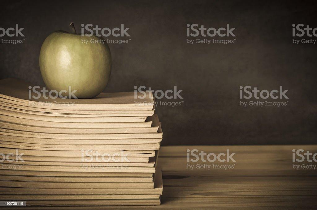 Teacher's Desk - Apple on Books stock photo