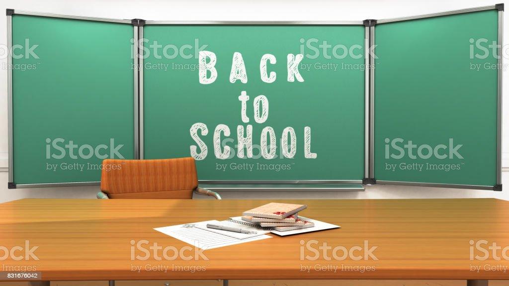 Teachers desk in the school class 3d render stock photo