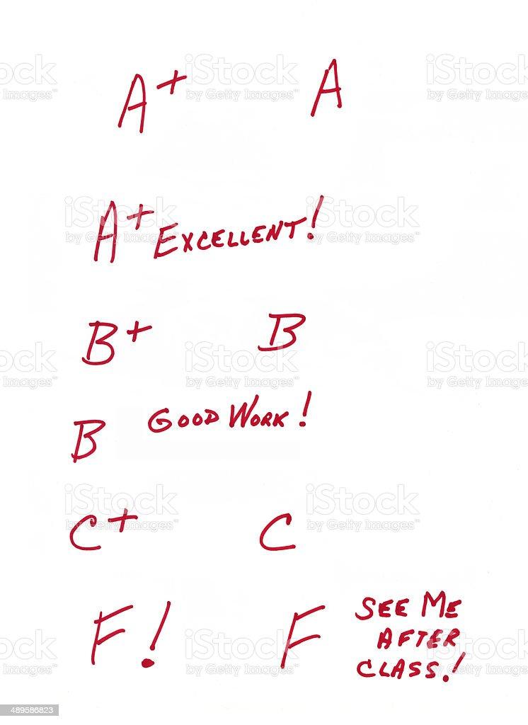 Teacher's grading marks stock photo