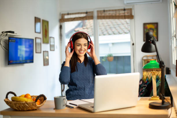 Teaching a class online from home stock photo