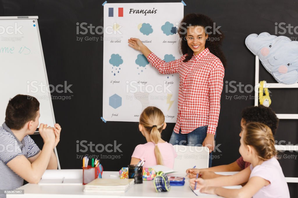 Teaching french words stock photo